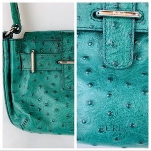 Furla Green Ostrich Handbag Dust bag Small